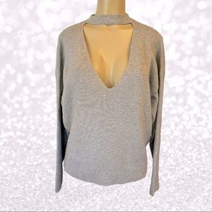 Forever 21 Gray Cutout V-Neck Sweater NWOT